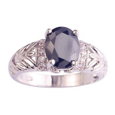 Fashion Oval Cut Black Spinel & White Topaz Gemstone Silver Ring Size 6 7 8 9 10