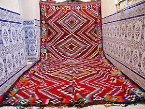 Vintage Moroccan Kilim Area Rug Handmade Azilal Tribal wool Old Carpet Berber