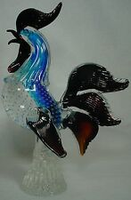 "VETRI DI MURANO glass COCK ROOSTER CHICKEN 12-1/4"" Control Bubble Blue/Ruby"