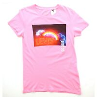Levi's Women's Rainbow Graphic Short Sleeve Crew Neck Perfect Tee T Shirt Pink