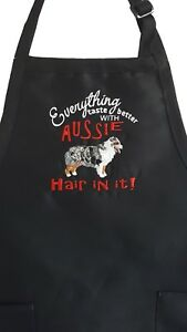 Australian Shepherd Dog Embroidered Apron for Cooking BBQ Crafts Grooming Chef