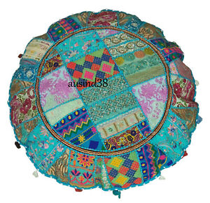 Floor Pillow Large floor Cushion pouf pouffe poof round embroidered Patchwork