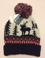 NEW Mens Mountain Warehouse Bobble Hat Winter Stag Knitted Ski Fairisle Woolly