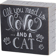"""All You Need is Love . and a Cat Box Sign Primitives by Kathy 4.5"""" x 4.25"""" chalk"""