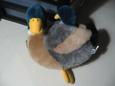 "9"" plush Duck doll with attached duck on back, good condition"