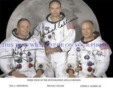 NEIL ARMSTRONG BUZZ ALDRIN AND MICHAEL COLLINS SIGNED 8x10 RP PHOTO APOLLO 11
