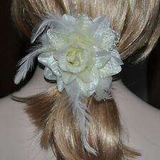 Hair Tie Feather Brooch Fabric Flower Rose Cream Ivory White Hair Decoration