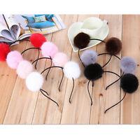 Sweet Pom Fur Ball Furry Ears Fluffy Rabbit Fur Headband Ball Women's Hair Band