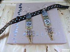 SILPADA W3283 ~ Sterling Silver & Brass Ornately Carved Earrings