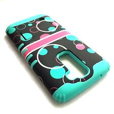 For LG K7 / Tribute 5 -Hybrid High Impact Armor Case Cover Mint Blue Pink Bubble