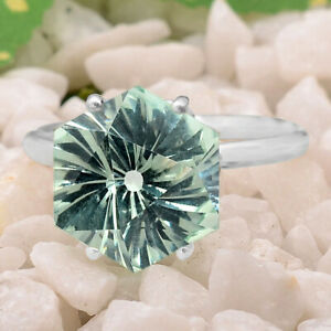 Green Sapphire Simulated 925 Sterling Silver Ring s.8 Jewelry E748