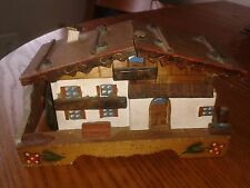 "Vintage Music Trinket Box Wooden Swiss Chalet - Plays ""Happy Wanderer"" in VGC"