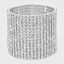 Rhinestone Bracelet 15 Row Wide Stretch Bangle Crystal Pave Wedding Bride SILVER