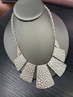 "Vintage Silver Tone Textured  Link Bib Statement necklace 18"" Ladies"