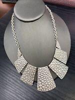 """Vintage Silver Tone Textured  Link Bib Statement necklace 18"""" Ladies"""