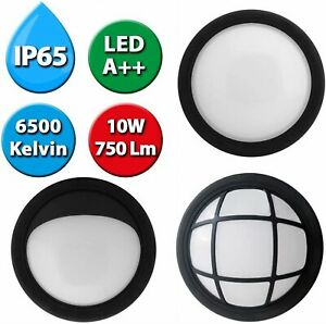 LED Wall Light Bulkhead IP65 10 Watt Compact Utility Outdoor - Black or White