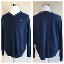 Travis Mathew Men's Sweater Navy V-Neck Golf Rayon Polyester Nylon Blend 2XL XXL