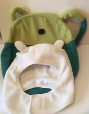 Adventure Time Finn White Hat & Backpack  Soft Fleece Costume Cosplay Youth