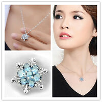 925 Silver Vintage Lady Blue Crystal Snowflake Flower Necklace Pendant Charm Hot