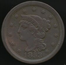 More details for 1853 u.s.a.braided hair one cent | world coins | pennies2pounds
