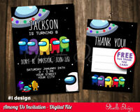 Among Us birthday invitation personalized YOU PRINT printable Invite