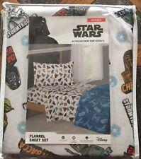 Star Wars Queen Flannel Sheet Set:Disney New C3Po R2D2 Darth Skywalker Han Solo