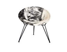 Black & White Print Color Leather And Iron Relaxing Chair For Office And Home