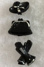 Vintage Figural Shank Buttons Purse Gloves Hat Black And White Mid Century lot 3