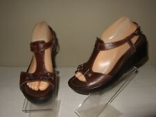 RARE Mephisto Brown Leather T-Strap Wedge Ankle Strap Sandals Sz.40 EU/ 10 Cute!
