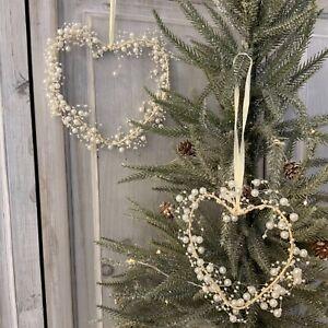 Cream Pearl Bead Hanging Heart Decoration Wreath Ribbon Christmas Tree Wedding