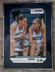 Rebecca Lobo and Pam Webber UConn framed 1995 signed poster