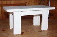 Schemel,Fußbank Blumenbank aus Holz Kiefer in weiß 4 Füße L- förmig
