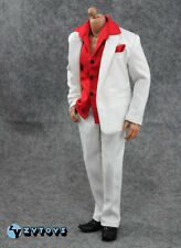 """1/6 scale custom white suit red shirt set fit 12"""" Scarface Al Pacino figure"""