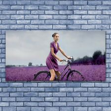 Canvas print Wall art on 140x70 Image Picture Woman Bicycle Meadow People