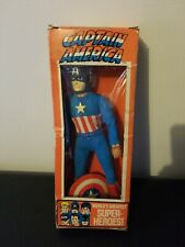 1972 MEGO CAPTAIN AMERICA WGSH IN DAMAGED BOX with boots and shield