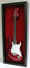 Fender Bass Guitar Display Case Wall Frame Cabinet  Wood Box, GTAR2(RED)-BLA