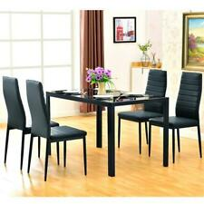Black Easy Assembled Tempered Glass Iron Dinner Table Desk+ 4pcs Chairs Set Home