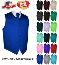 Men's Solid Satin Tuxedo Vest, Tie and Hankie. Formal, Dress, Wedding, Prom