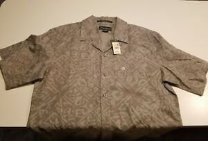 NEW !$49 Eddie Bauer Short Sleeve Button Up print MEN'S  Shirt SIZE S SMALL gray