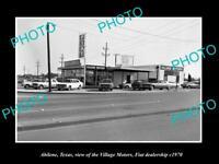 OLD LARGE HISTORIC PHOTO OF ABILENE TEXAS, THE FIAT CAR DEALERSHIP c1970