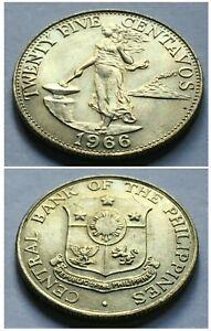 PHILIPPINES 1966 Twenty Five Centavos Coin Woman Standing Volcano Hammer Anvil