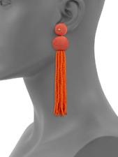 KENNETH JAY LANE Coral Ball Tassel Drop Earrings $100 SAKS FIFTH AVENUE