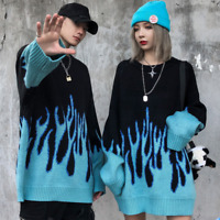 Mens Wool Knitted Blue Flame Sweater Hip Hop Loose Thick Crew Neck Tops