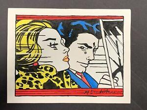 """Roy Lichtenstein Graphic Pop Art Painting on Paper, Signed 11.5"""" x 8.25"""""""