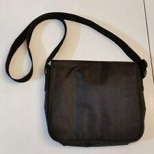 """Laptop Tablet Tote 9"""" Messenger Bag Black Turquoise Blue Lining Adjustable Strap"""