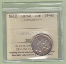 1876-H Newfoundland 20 Cents Silver Coin - VF-30