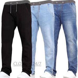 Boys Kids Stretch Jeans Slim Leg Elasticated Waist Jeans Pant Jogger Age 9-15