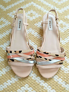 DUNE Leather Low Wedge Heel Summer Sandals Size 5 / 38 Nude / Leopard / Silver