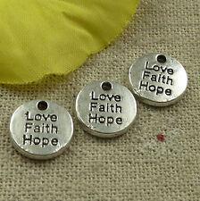 Free Ship 160 pieces tibetan silver Love Faith Hope charms 12mm #4577