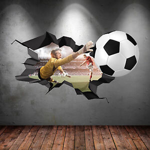 3D FOOTBALL COLOUR CRACKED GOAL Wall Art stickers Decal Boys Graphic Mural WSD15